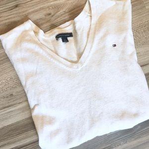 Tommy Hilfiger Ivory Classic V-Neck Sweater